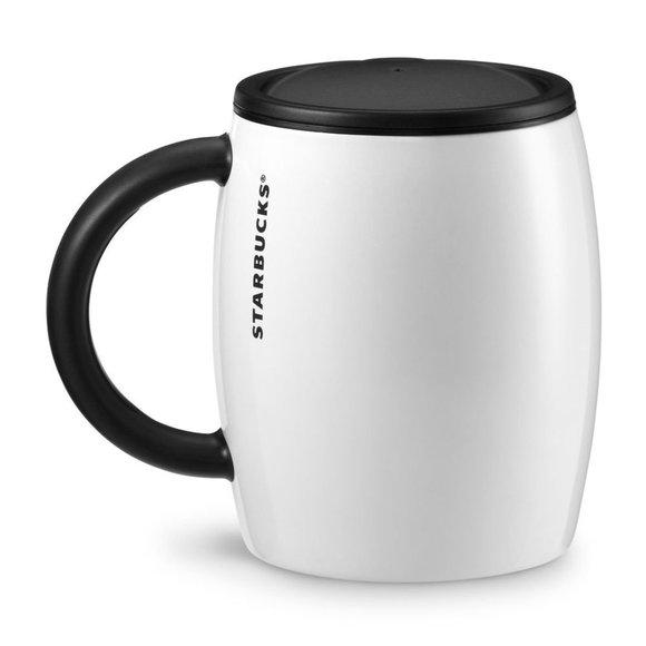 Starbucks Stainless Steel White Mug w LId 2013